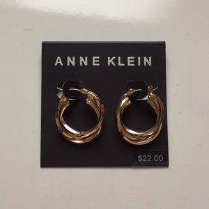NWT- Anne Klein gold triple hoop earrings.